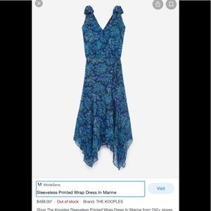 Kooples Blue Silk Floral Wrap Dress - NWOT!